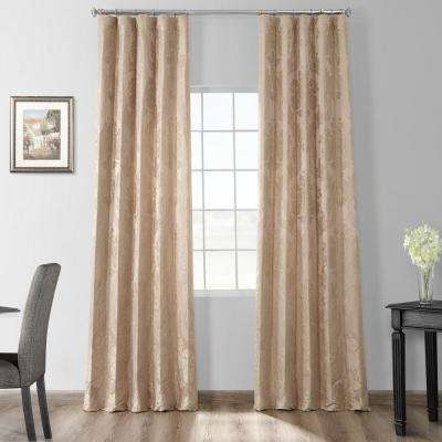 Magdelena Beige and Gold Faux Silk Jacquard Curtain Panel - 50 in. W x 108 in. L