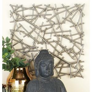 Modern Silver Finished Abstract Iron Strips Wall Decor
