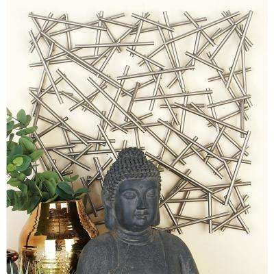 Modern Silver-Finished Abstract Iron Strips Wall Decor