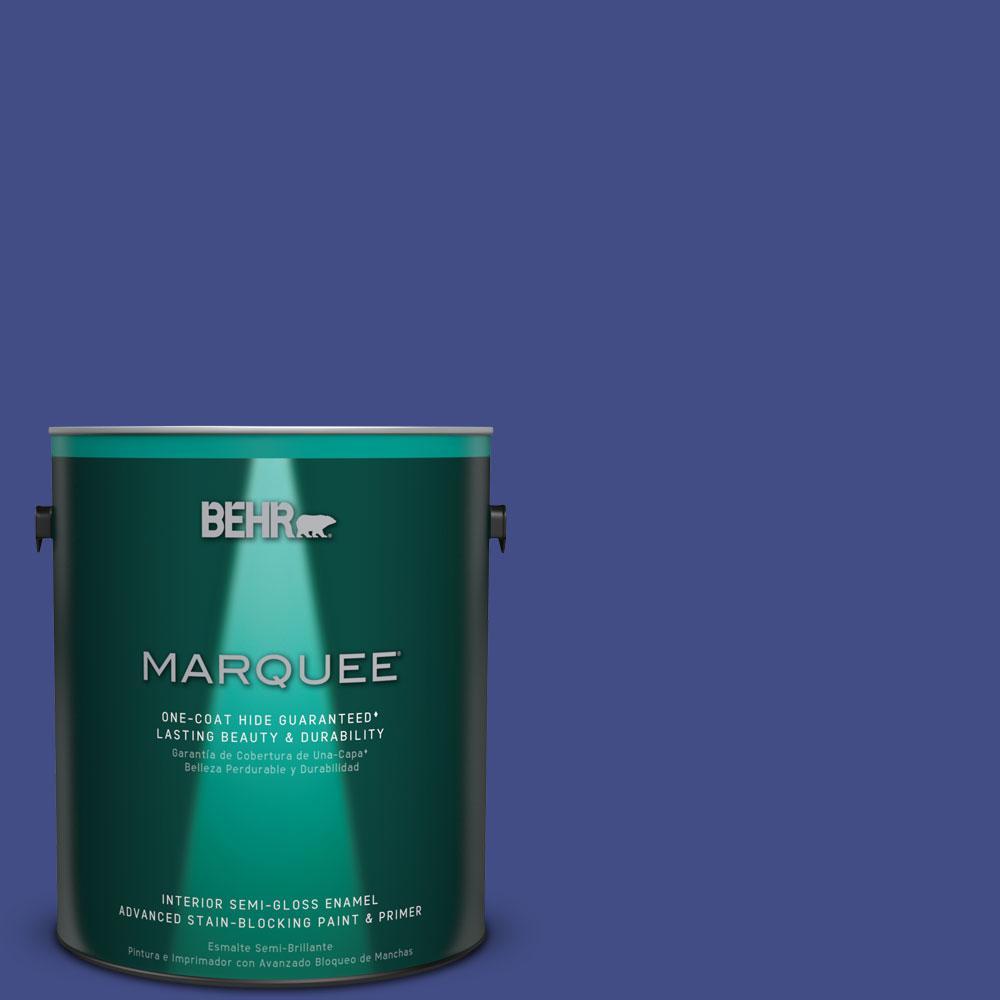 1 gal. #MQ5-48 Boudoir Blue One-Coat Hide Semi-Gloss Enamel Interior Paint