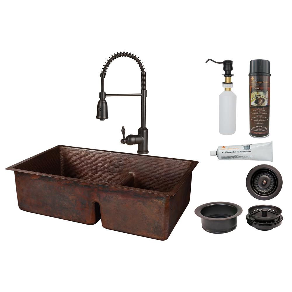 Premier Copper Products All-in-One Undermount Copper 33 in. 60/40 Double  Bowl Short Divide Kitchen Sink with Spring Faucet in Oil Rubbed Bronze