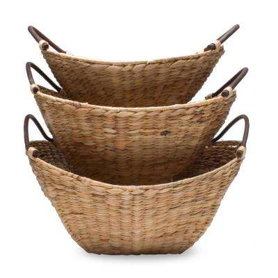 Woven Water Hyacinth Baskets (Set of 3)