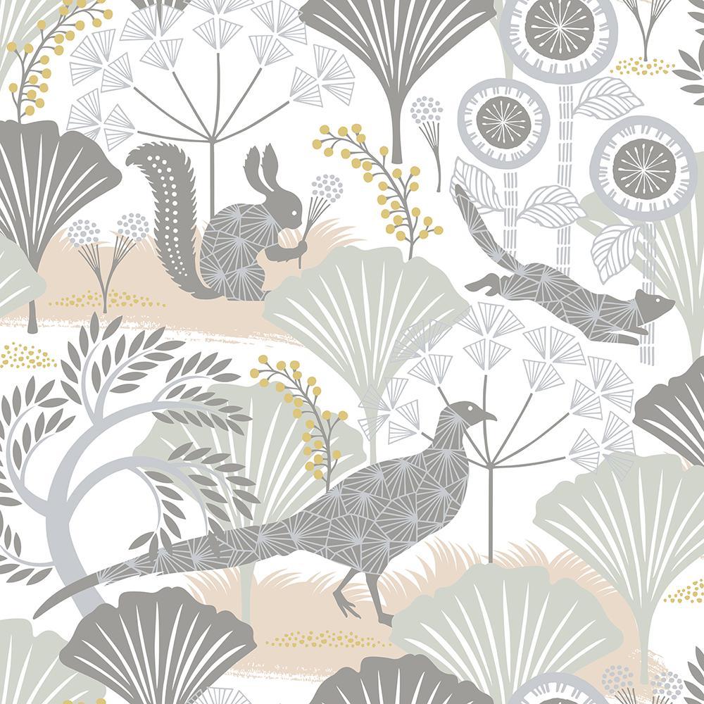 undefined 8 in. x 10 in. Skog White Forest Wallpaper Sample