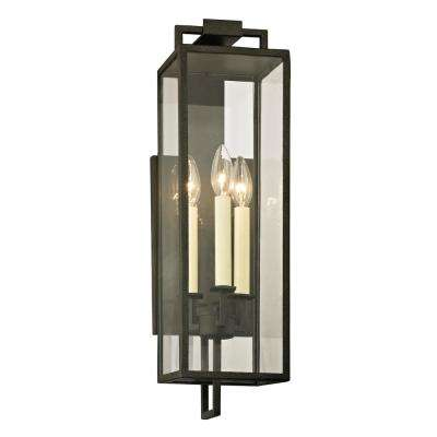 Beckham 3-Light Forged Iron 21.5 in. H Outdoor Wall Mount Sconce with Clear Glass