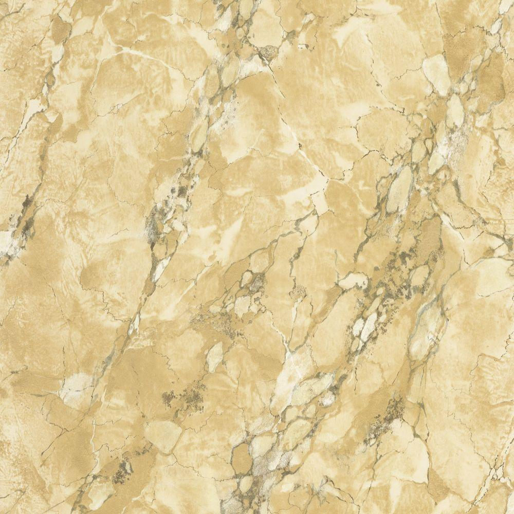The Wallpaper Company 56 sq. ft. Tan Marble Faux Finish Wallpaper