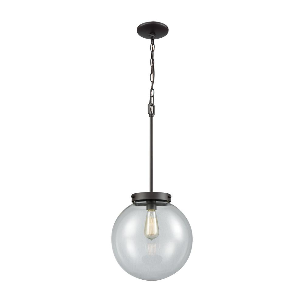 Beckett Large 1-Light Oil Rubbed Bronze with Clear Glass Pendant