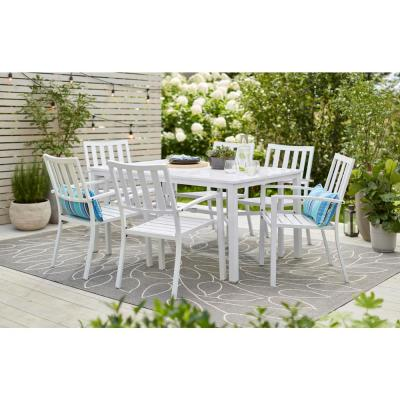 Mix and Match Lattice White Rectangle Metal Outdoor Patio Dining Table with Slat Top