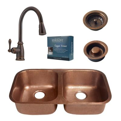 Kandinsky All-in-One Undermount Solid Copper 32-1/4 in. Double Bowl Kitchen Sink with Pfister Faucet and Drain in Bronze