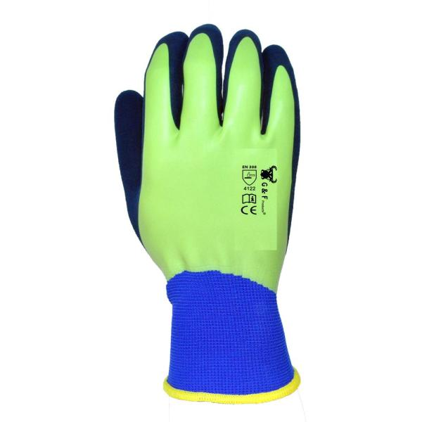 X-Large Latex Aqua Gardening Men's Gloves with Double Microfoam Water Resistant Palm (6-Pack)