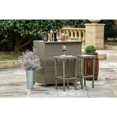 3-Piece Wicker Outdoor Serving Bar Set