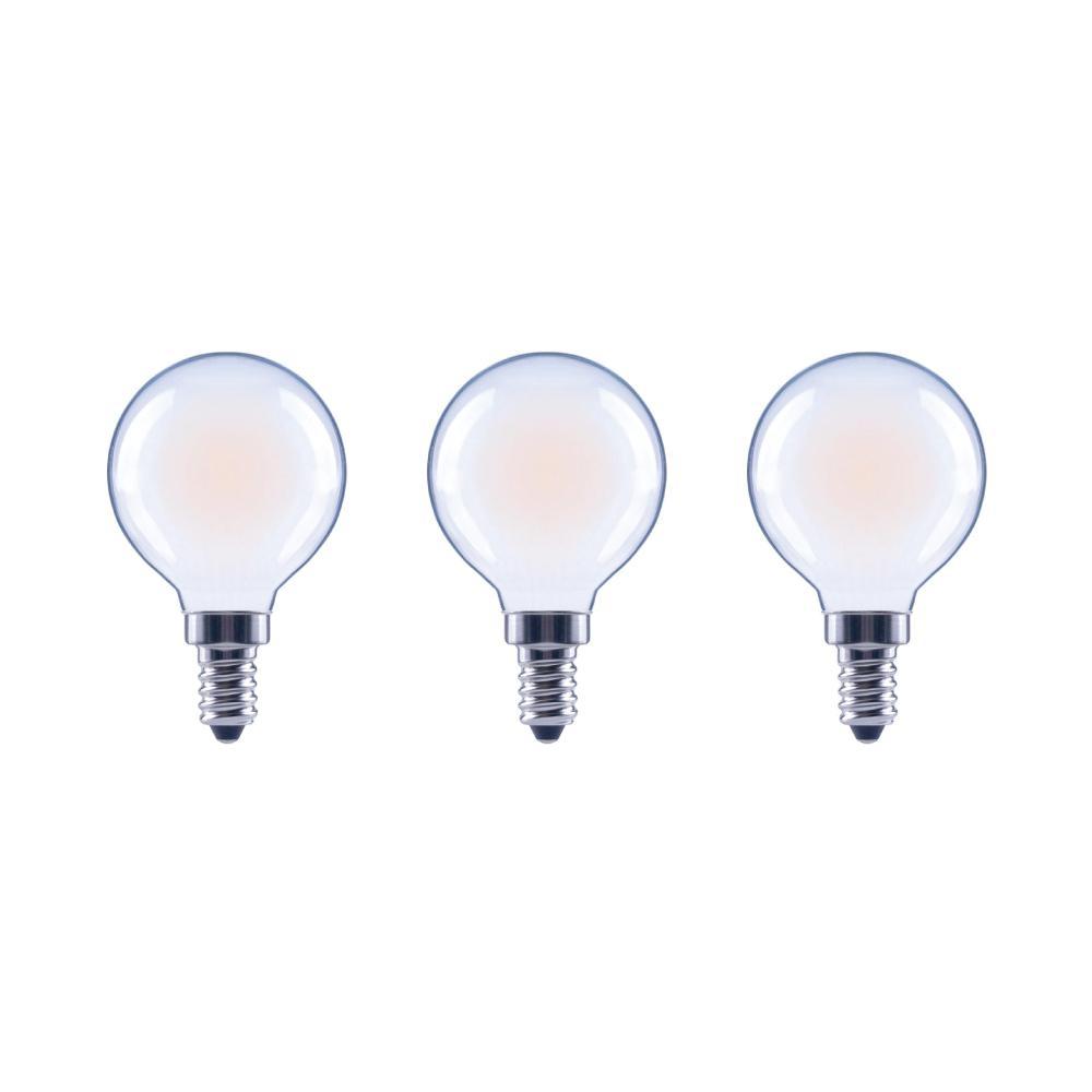EcoSmart 40-Watt Equivalent G16.5 Globe Dimmable Energy Star Frosted Glass Filament Vintage LED Light Bulb Daylight (3-Pack)