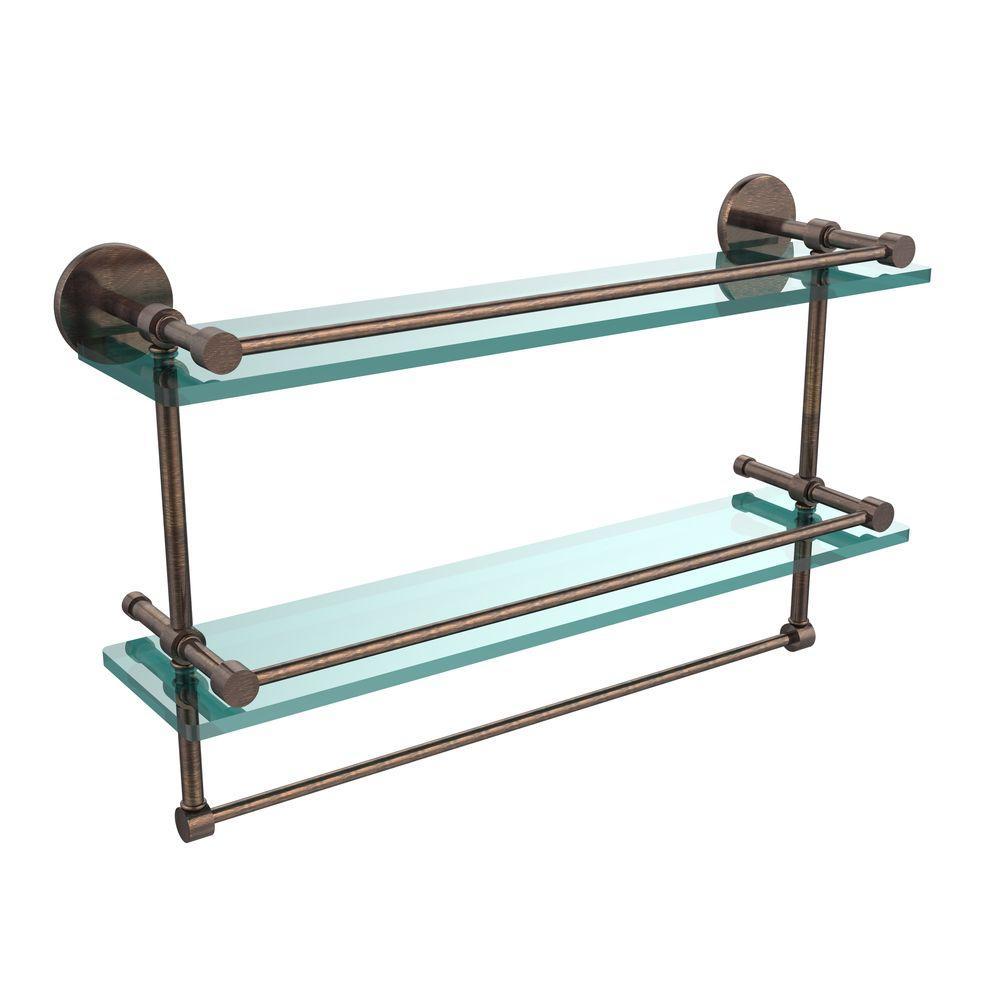 22 in. L  x 12 in. H  x 5 in. W 2-Tier Clear Glass Bathroom Shelf with Towel Bar in Venetian Bronze