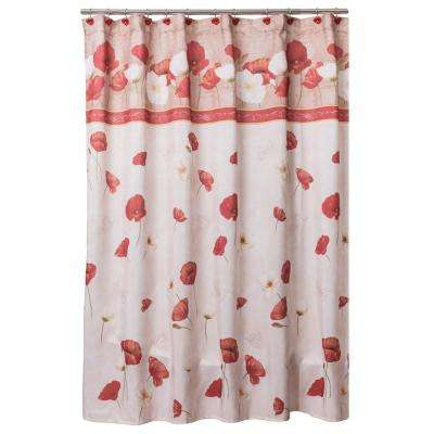 Poppy Fields 72 in. Floral Shower Curtain