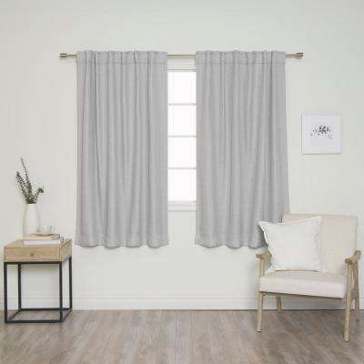 """63"""" Light Gray Woven Faux Linen Back Tab Curtains with Blackout Lining"""