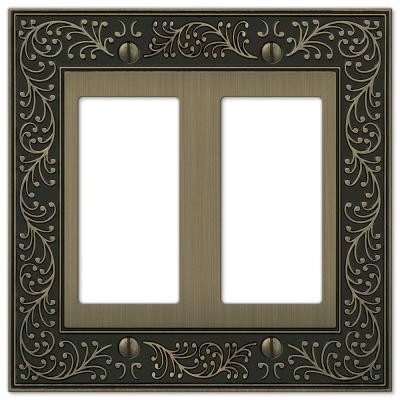 English Garden 2 Gang Rocker Metal Wall Plate - Brushed Brass