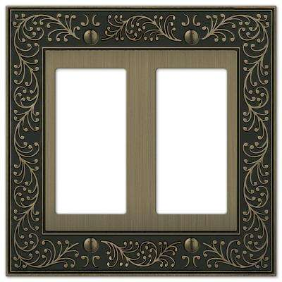 English Garden 2-Gang Decora Wall Plate - Brushed Brass