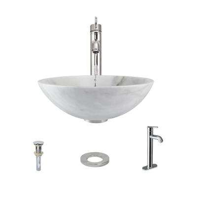 Stone Vessel Sink in Honed Basalt White Granite with 718 Faucet and Pop-Up Drain in Chrome