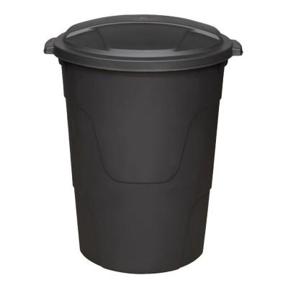 32 Gal. Black Round Multi-Purpose Plastic Trash Can with Black Lid