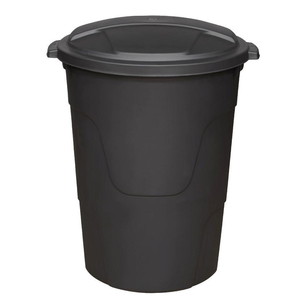 HDX 32 Gal. Black Round Multi-Purpose Plastic Trash Can with Black Lid