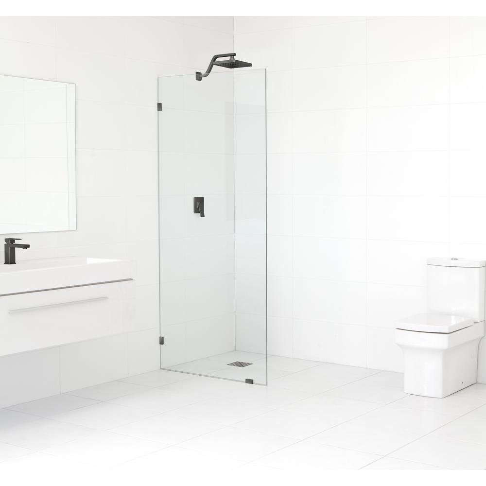 Glass Warehouse 30 in. x 78 in. Frameless Fixed Shower Door in Oil Rub Bronze without Handle