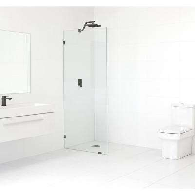 33 in. x 78 in. Frameless Fixed Shower Door in Oil Rub Bronze without Handle