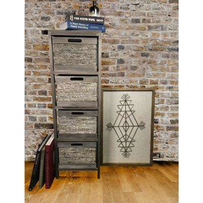 Espresso Wood Storage Cabinet with 4 Wicker Baskets
