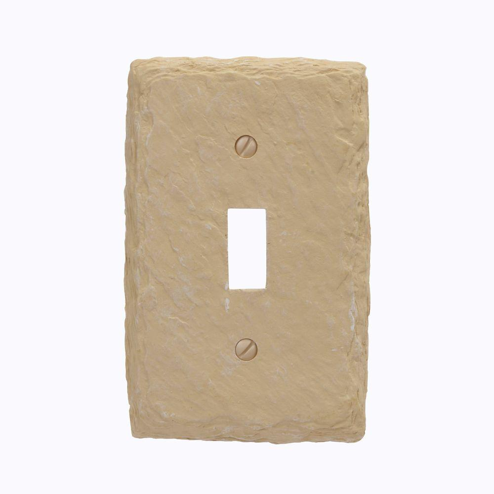Faux Slate Resin 1 Toggle Wall Plate - Almond