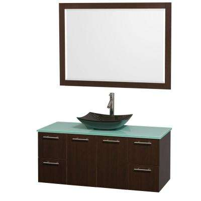 Amare 48 in. Vanity in Espresso with Glass Vanity Top in Green, Granite Sink and 46 in. Mirror