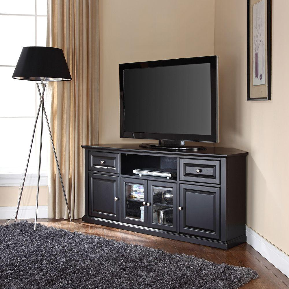Crosley Crosley Furniture 27 In Black Wood Corner Tv Stand With 2 Drawer Fits Tvs Up To 60 In With Storage Doors Cf1000260 Bk The Home Depot