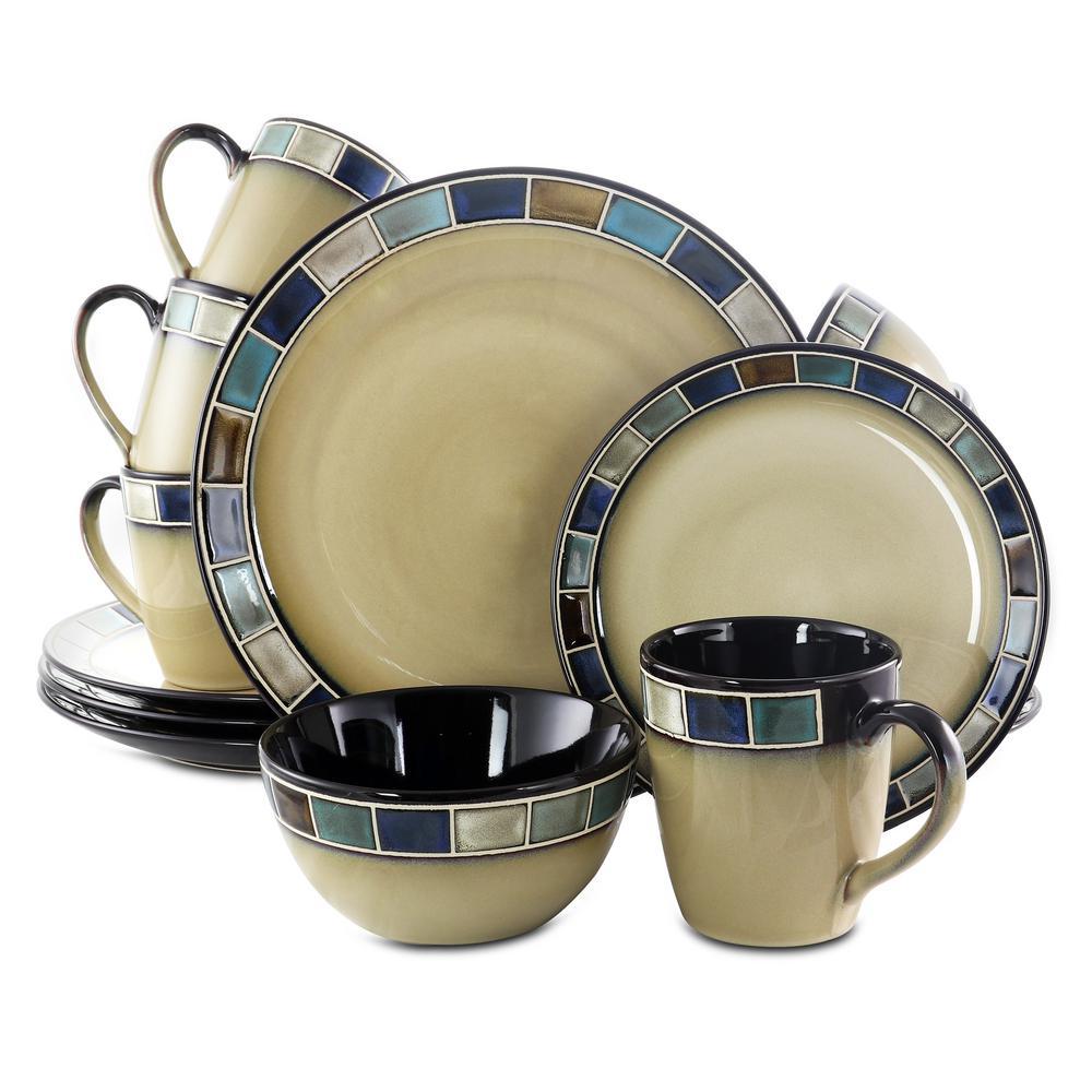 GIBSON elite Casa Azul Reactive Glaze 16-Piece Cream and Blue Dinnerware