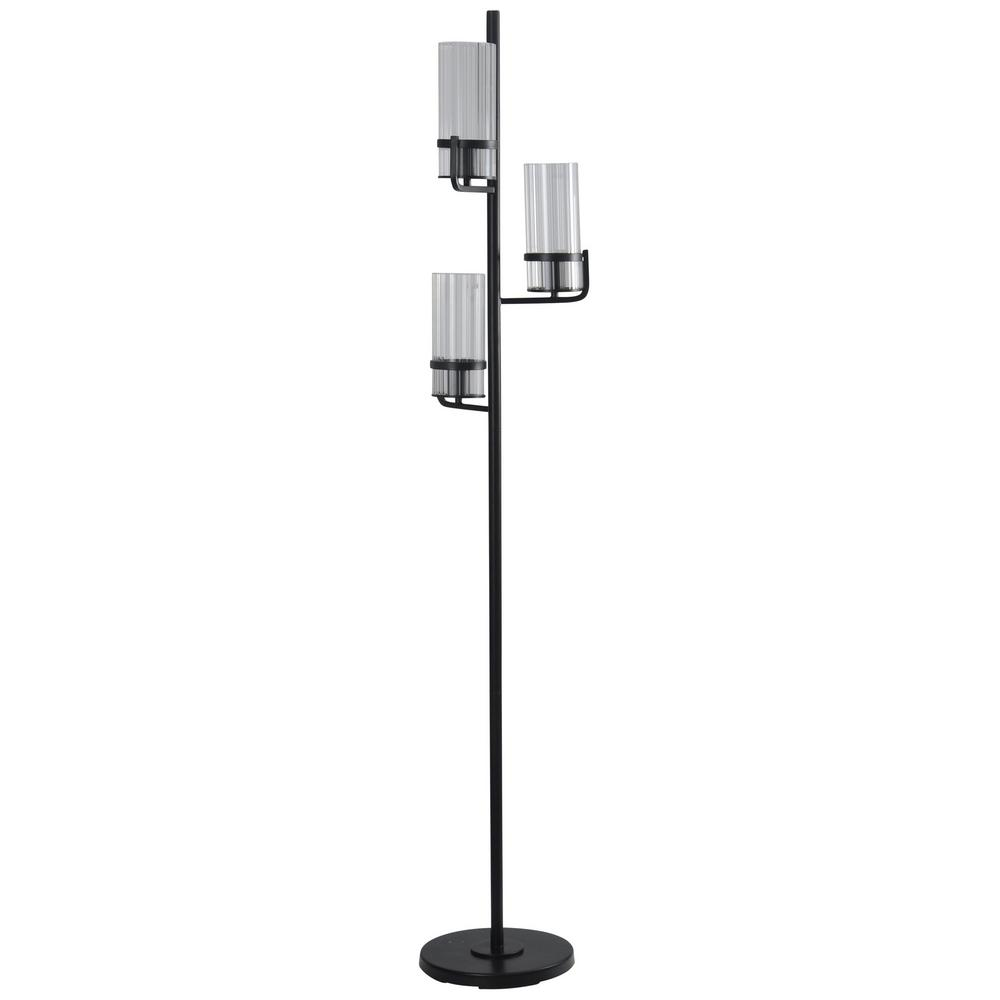 StyleCraft 70 in. Satin Black Floor Lamp with Clear Ribbed ...