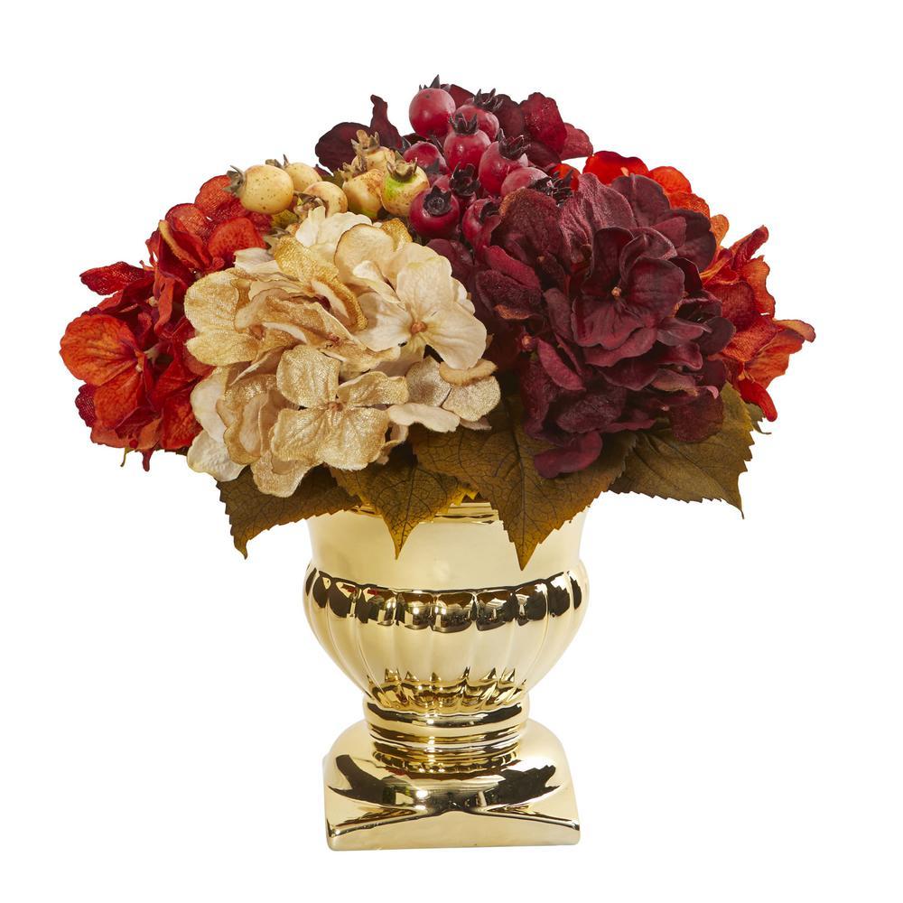 Nearly Natural Indoor Hydrangea Berry Artificial Arrangement in Gold Urn