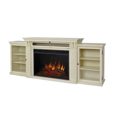 Tracey Grand 84 in. Electric Fireplace TV Stand Entertainment Center in Distressed White