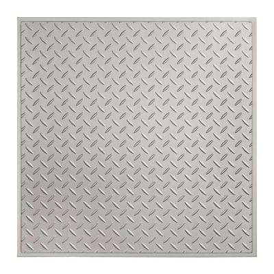 Diamond Plate - 2 ft. x 2 ft. Revealed Edge Lay-in Ceiling Tile in Argent Silver