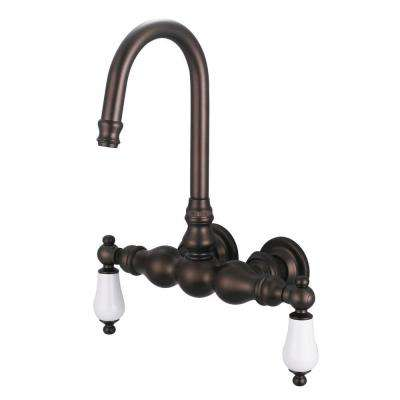 2-Handle Wall Mount Gooseneck Claw Foot Tub Faucet with Porcelain Lever Handles in Oil Rubbed Bronze