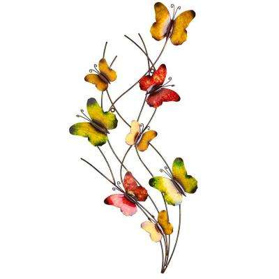 29.5 in. H Butterfly Swarm Metal Wall Outdoor Decor