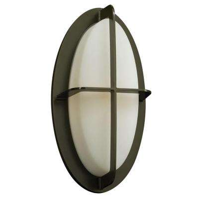 1-Light Outdoor Bronze Wall Sconce with Matte Opal Glass