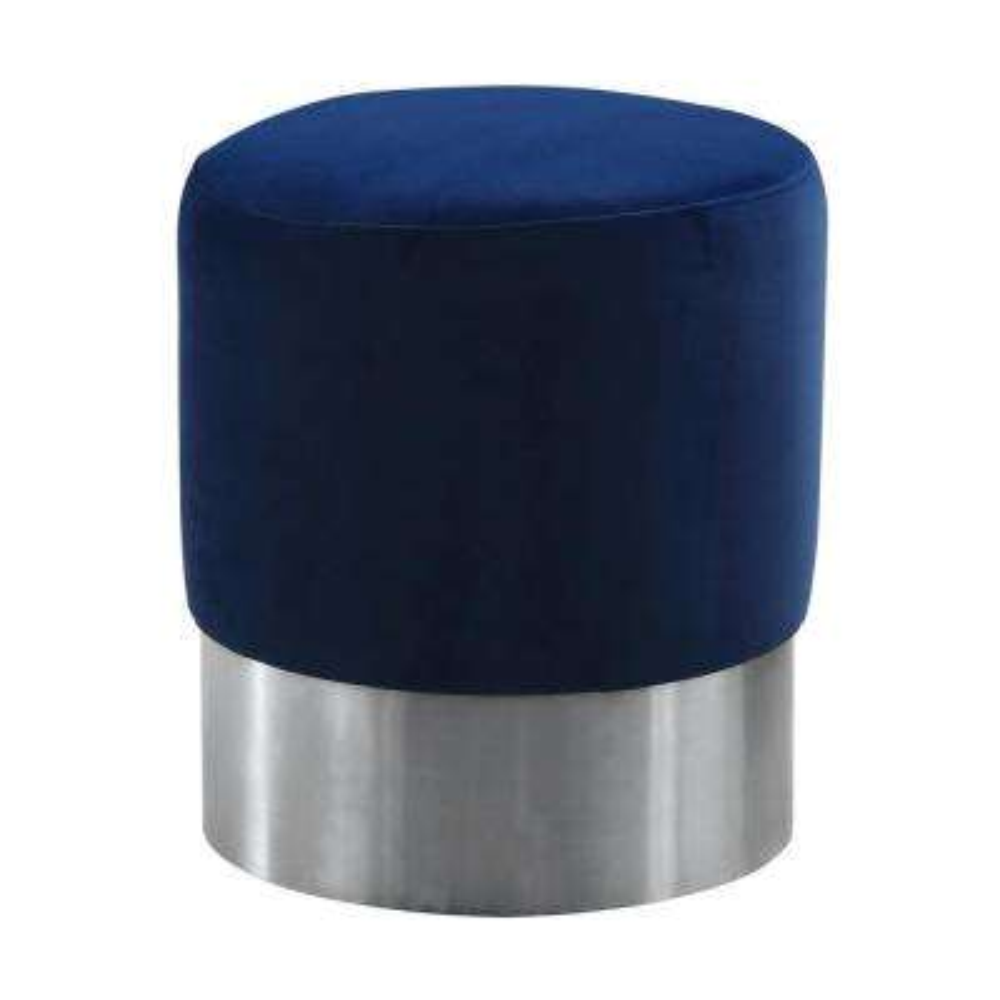 Armen Living Blue Velvet Contemporary Round Ottoman in Brushed Stainless Steel