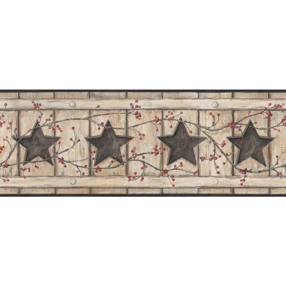 York Wallcoverings Country Keepsakes Country Cutout Star Wallpaper