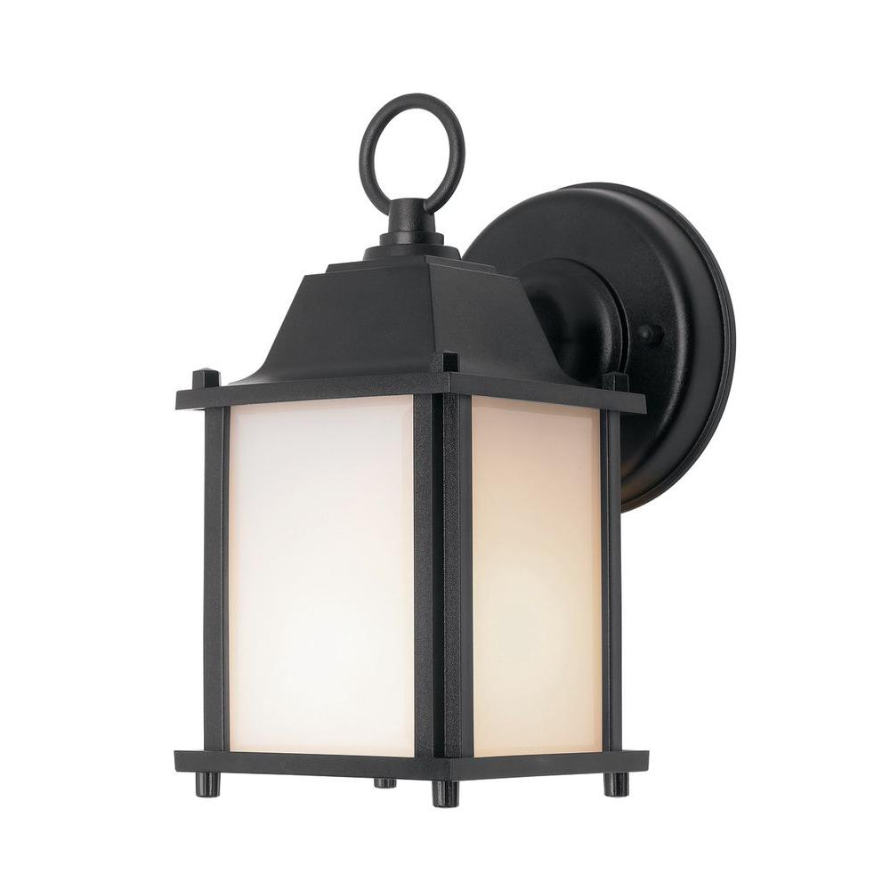 Newport coastal square porch light black with bulb 7974 for Outdoor front porch lights