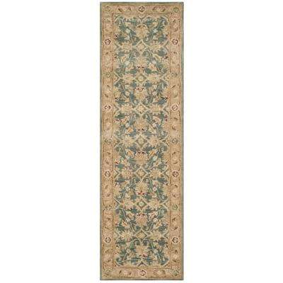 Antiquity Teal Blue/Taupe 2 ft. x 10 ft. Runner