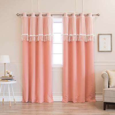 52 in. W x 84 in. L uMIXm Leaf Fringe Valance & Blackout Curtains in Coarl (4-Pack)