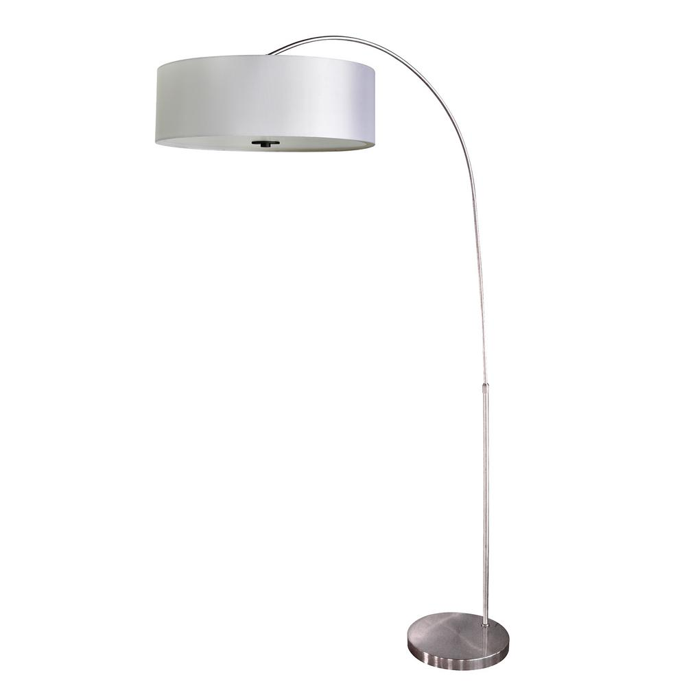 65 in. Chrome Floor Lamp with Pristine White Fabric Shade