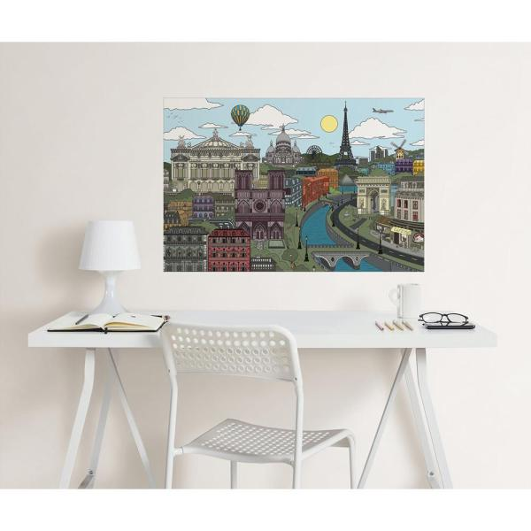 24 in. x 36 in. Visite Paris Coloring Wall Decal