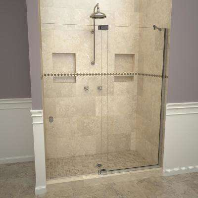 2900V Series 54 in. W x 76 in. H Semi-Frameless Offset Pivot Hinge Shower Door in Polished Chrome with Knobs