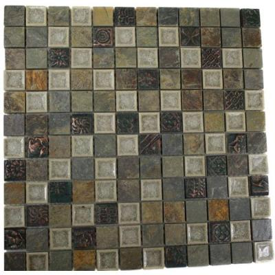 Roman Selection Emperial Slate With Deco 12 in. x 12 in. x 8 mm Glass Mosaic Floor and Wall Tile