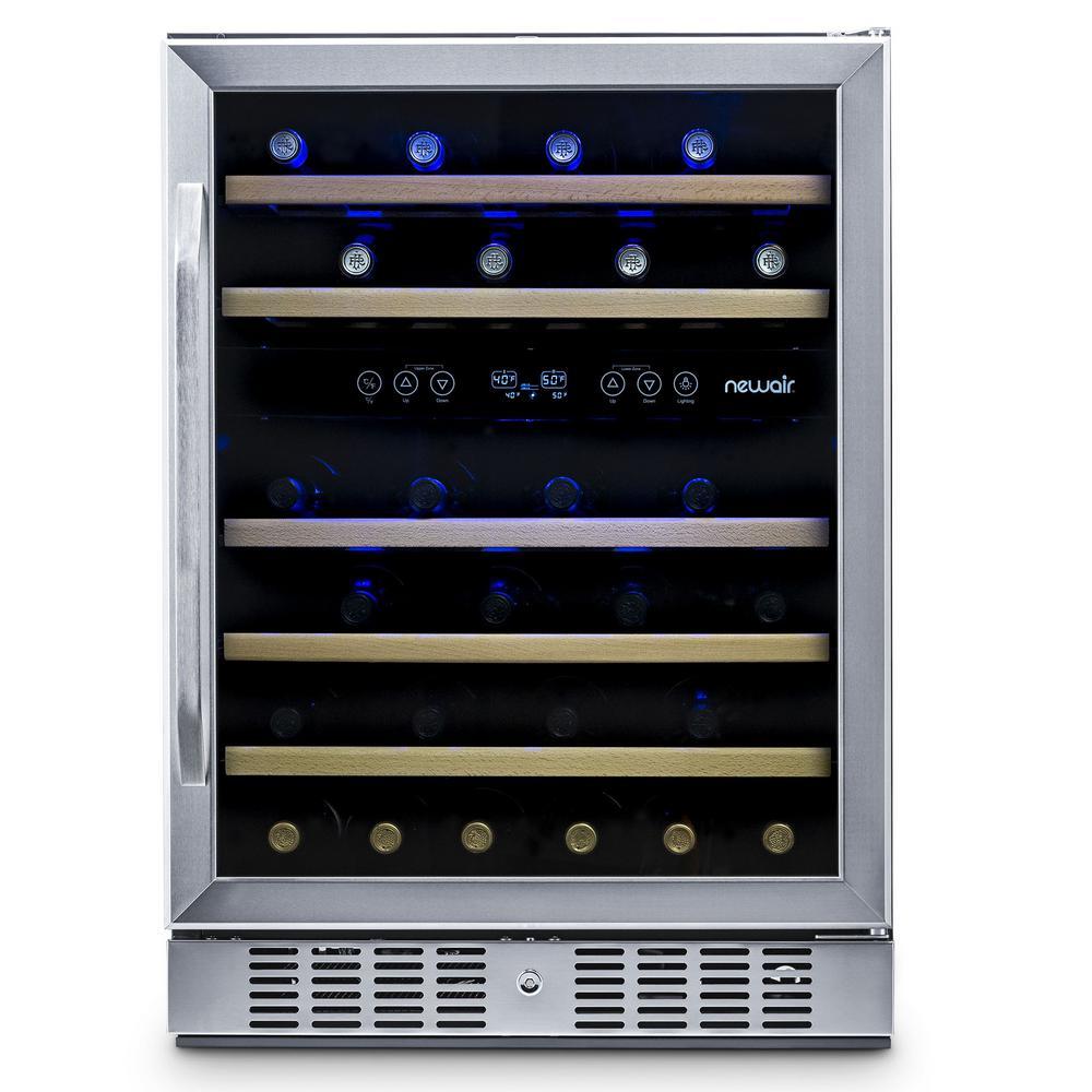 Premium Dual Zone 46-Bottle Built-In Freestanding Fridge Under Counter Refrigerator Wine Cooler - Stainless Steel