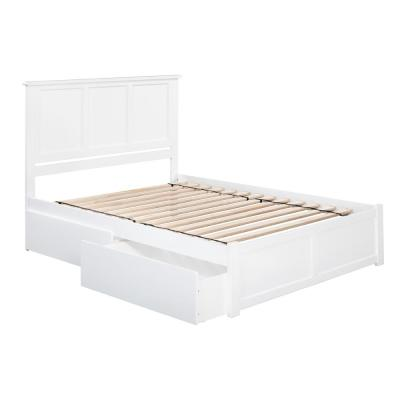Madison King Platform Bed with Flat Panel Foot Board and 2-Urban Bed Drawers in White