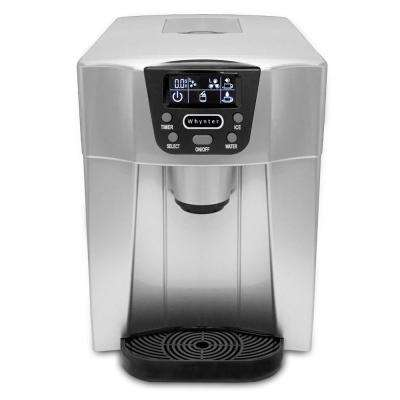 26 lbs. Freestanding Countertop Direct Connection Ice Maker and Water Dispenser - Silver