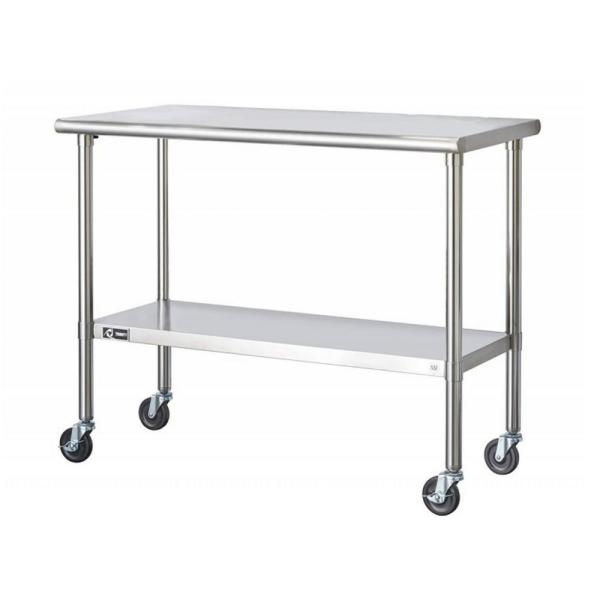 TRINITY EcoStorage 48 in. NSF Stainless Steel Table with Wheels